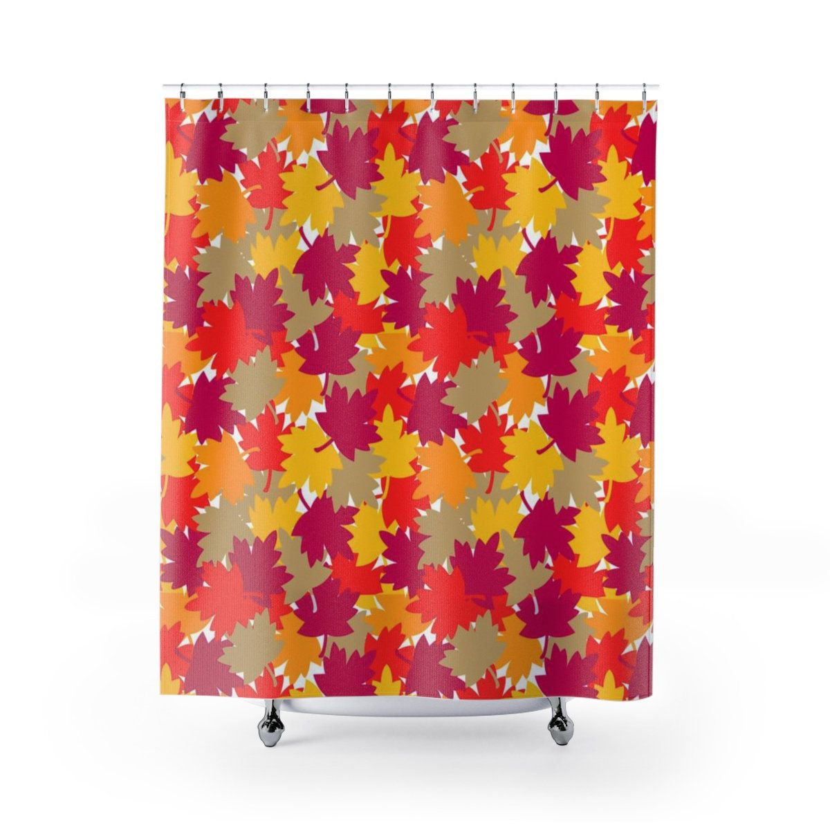 Fall Autumn Leaves Shower Curtain Bathroom Home Decor Red Orange