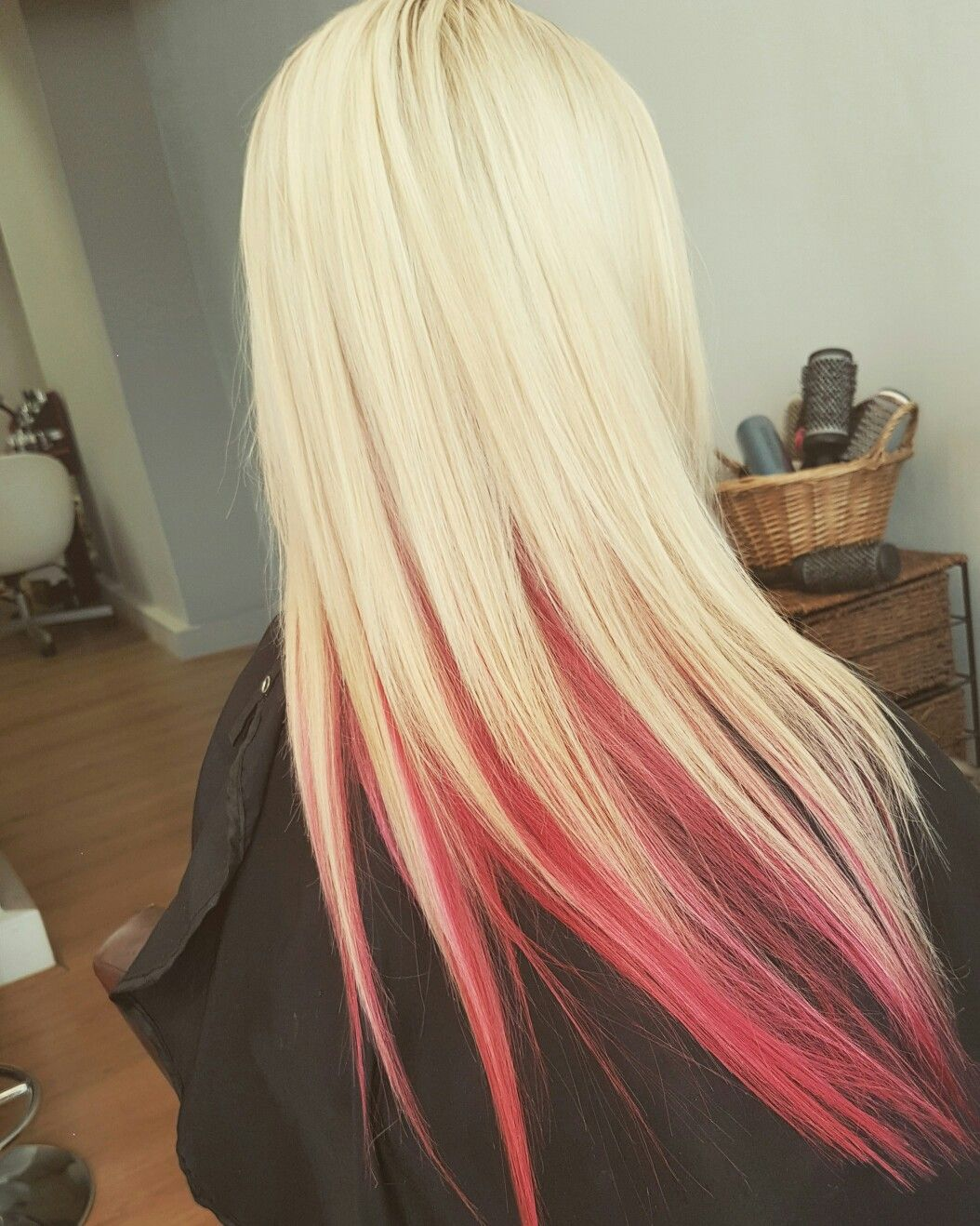 Blond Highlights With Pink Red Underneath Pink Blonde Hair Blonde Highlights Pink Underneath Hair