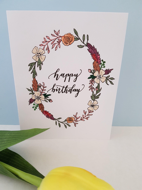 Happy Birthday Greeting Card Handmade Birthday Card Flower Lover Birthday Card Birthday Greeting Cards Greeting Cards Handmade Birthday Birthday Card Messages