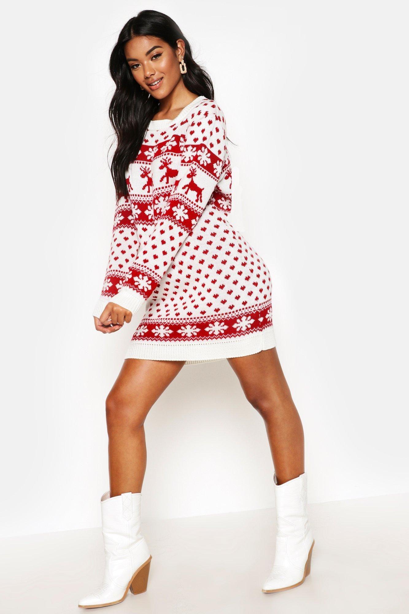 Reindeers & Snowflake Christmas Sweater Dress boohoo