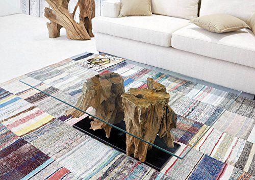 Teak Wurzel Tisch teak-couchtisch ranting inkl. glas 110 cm x70 cm | exklusiver wurzel