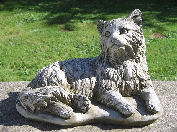 CUTE ORNAMENTAL HANDMADE STONE EFFECT CAT STATUE SUITABLE FOR HOME /& GARDEN