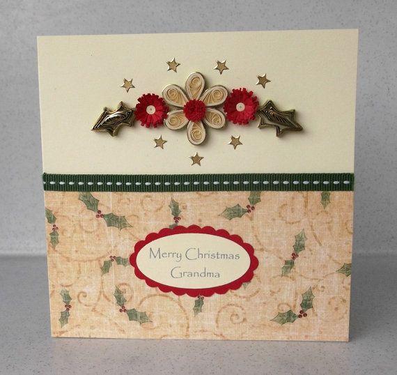 Tarjeta hecha a mano Navidad quilled papel por PaperDaisyCards