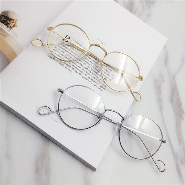 ee2210bbd8 Men Women Vintage Round Circle Eyeglasses Clear Lens Casual Glasses ...