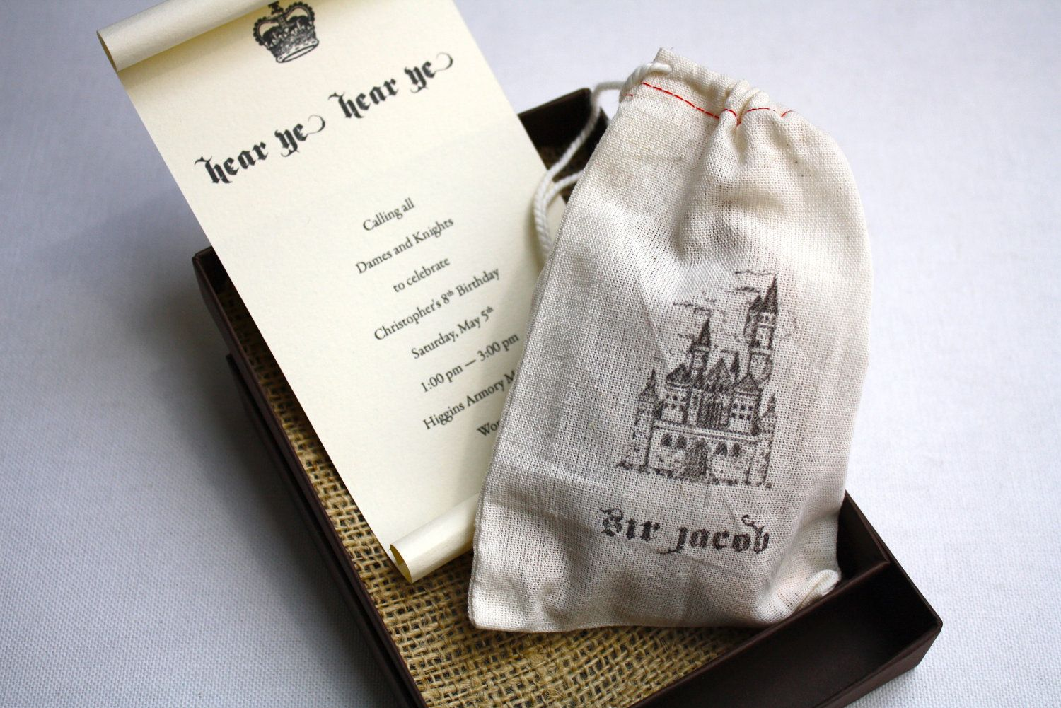 Medieval castle and knight birthday party invitation box mailer medieval castle and knight birthday party invitation box mailer scroll invitation personalized muslin filmwisefo Images