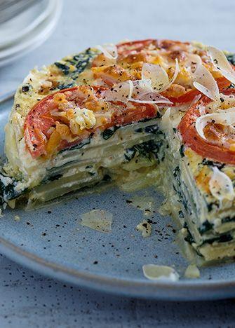 Pastel de papa con espinacas y queso