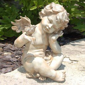 Lady Bug 13.5 In H Winged Cherub Garden Statue