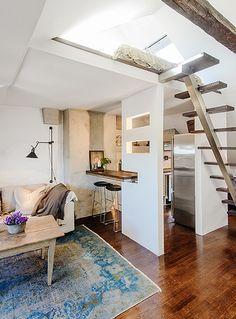 les petites surfaces du jour charme sous combles loft studio apartment pinterest. Black Bedroom Furniture Sets. Home Design Ideas