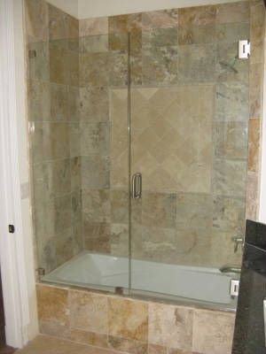 glass bathtub doors frameless | Frameless Tub Enclosure next to a ...