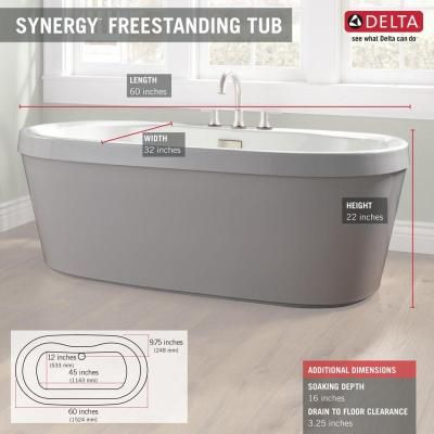 Merveilleux Acrylic Freestanding Bathtub With Integrated Waste And Overflow In Bright  White B14416 6032 WH   The Home Depot