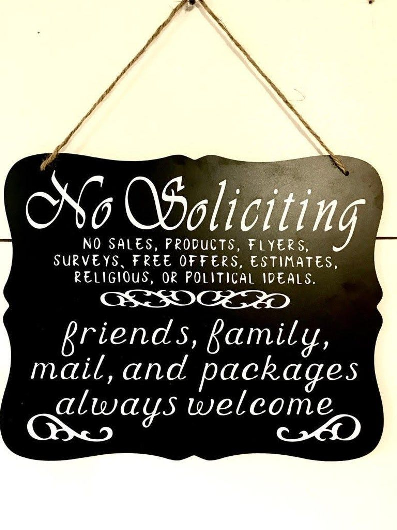 No soliciting sign, No solicitors sign, no soliciting yard signs, no soliciting hanging sign, friends welcome sign, front door sign