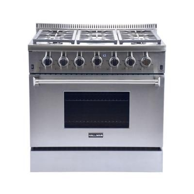 Hallman 36 In 5 2 Cu Ft 6 Burner Professional Convection Gas Range In Stainless Steel Liquid Propane Hgr3602lp The Home Depot 2 699 00