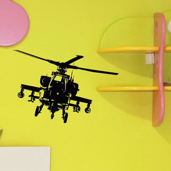 Helicopter Wall Decal Vinyl Sticker Army Military Attack Wall Decor ...