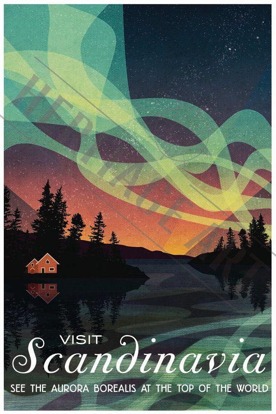Scandinavia  Vintage Travel Poster von HeritageArtPrints auf Etsy