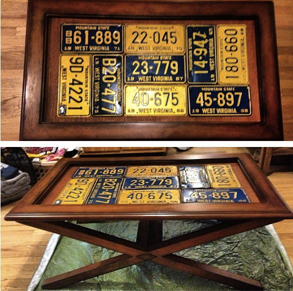 Man cave table license plate collage salvaged for Man cave coffee table ideas