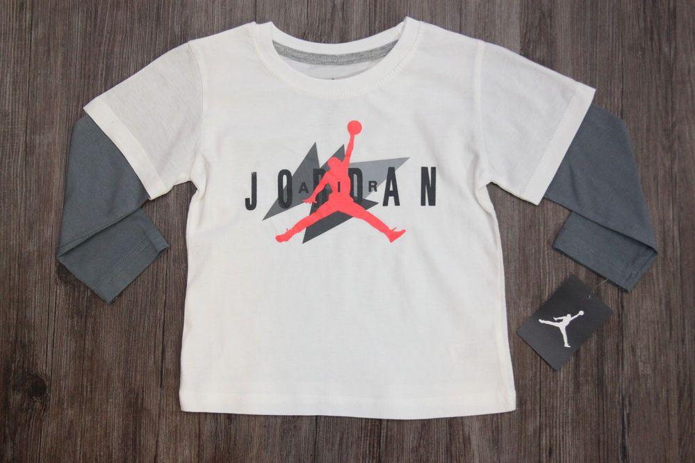 b7bb0c11ae01 Air Jordan Toddler Boys Mock Layer Long Sleeve T-Shirt ~ Ivory