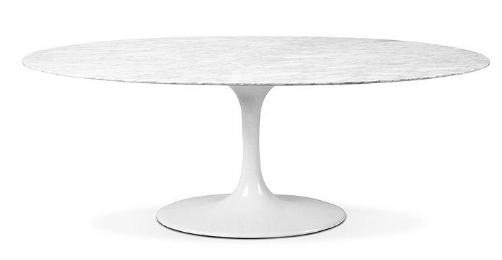 Table tulipe ovale 199 cm fibre de verre et marbre en - Table ovale design pied central ...