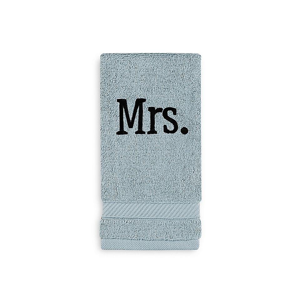 Wamsutta Personalized Hygro Mr Mrs Duet Fingertip Towel In Sea