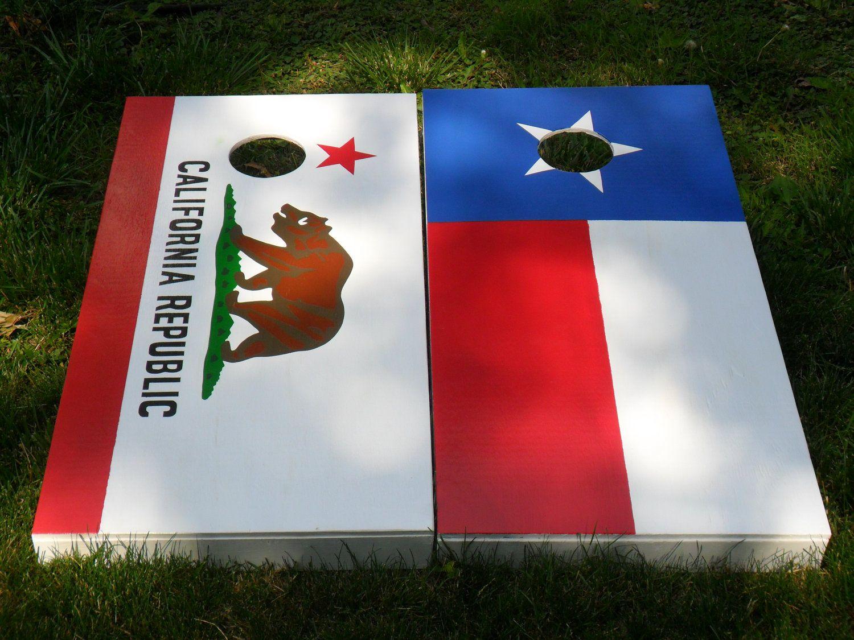 Custom Painted CALIFORNIA STATE FLAG Pride Flag Cornhole Corn hole Baggo Board Game Set. $179.00, via Etsy.