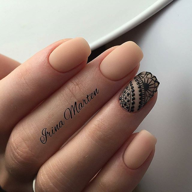 Short, natural nail, matte nude, black lace nail design! Beautiful ...