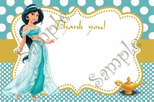 Princess jasmine invitation jasmine birthday jasmine party invites princess jasmine birthday party invitation free thank you card stopboris Image collections