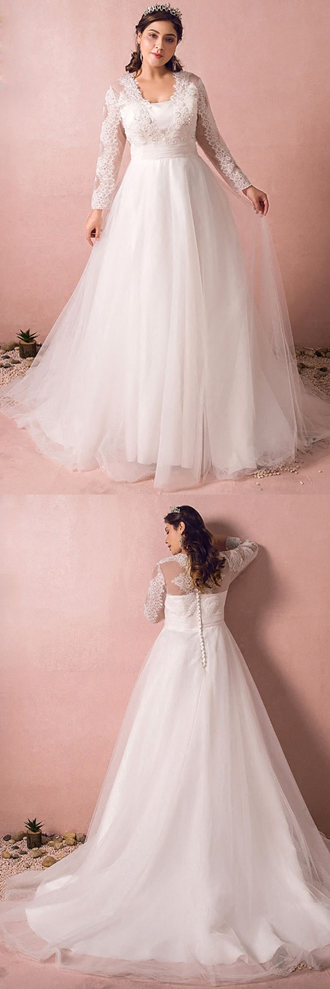 Modest long lace sleeve plus size wedding dress tulle beach weddings