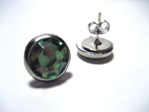 Olive Green Rhinestone Studs Hypoallergenic Metal Post Earrings With Large Clearance