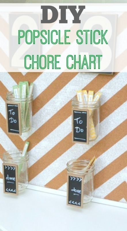 Diy popsicle stick chore chart family kids adult also activities  crafts for rh pinterest