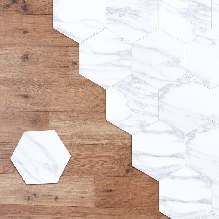 Marble Hexagon Minimalist Hexagon 20cm X 23cm Pvc Mosaic Tile