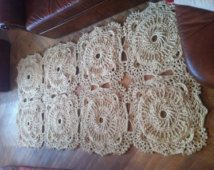 Big Squre Crochet Carpet, beige rug-living room rug-floor mat carpet. French country decor