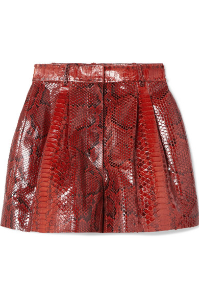 0ec405c12 Alaïa - Pleated Python Shorts - Red in 2019 | Products | Short ...