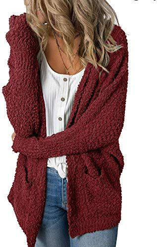 New Imily Bela Womens Fuzzy Chunky Cardigan Popcorn Oversized Sherpa Slouchy Open Sweater Coat online - Lovechicclothing