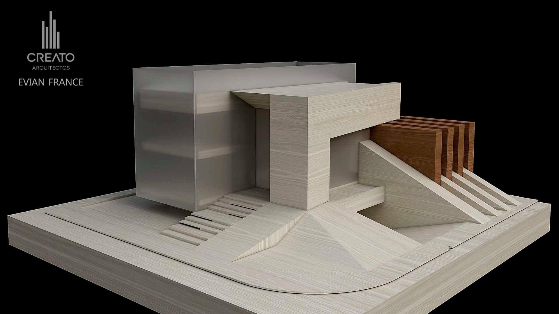 Creato projects evian gate maquetas modelos for Casa minimalista maqueta