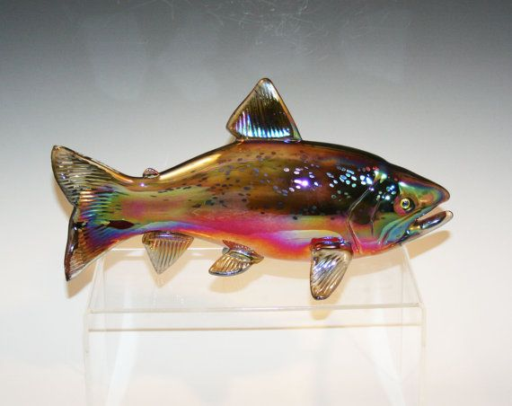 Hand Blown Glass Fish Chinook Salmon Sculpture Glass
