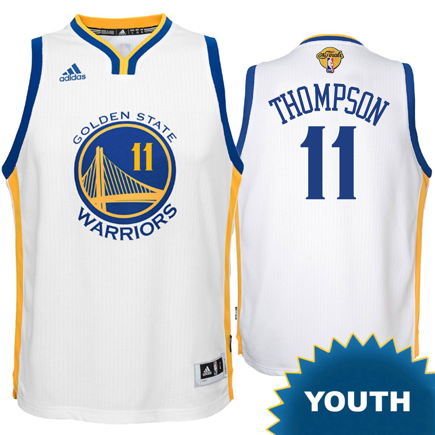 online store 2907b 347d7 Klay Thompson Youth Jersey: adidas 'The Finals' White ...