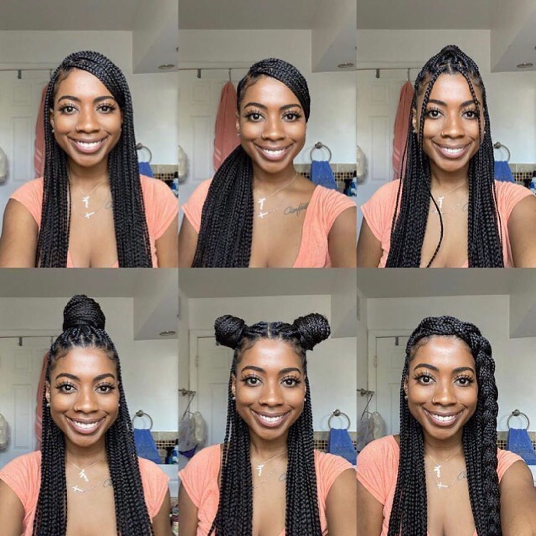 Queen On Instagram Some Cute Different Ways To Style Your Braids Jhor In 2020 Cool Braid Hairstyles Box Braids Hairstyles For Black Women Braided Hairstyles