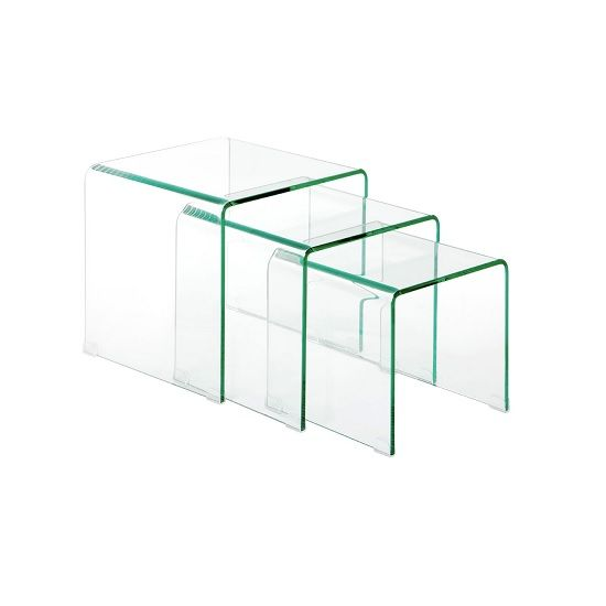Logan set of 3 nesting tables in clear bent glass dream furniture logan set of 3 nesting tables in clear bent glass watchthetrailerfo