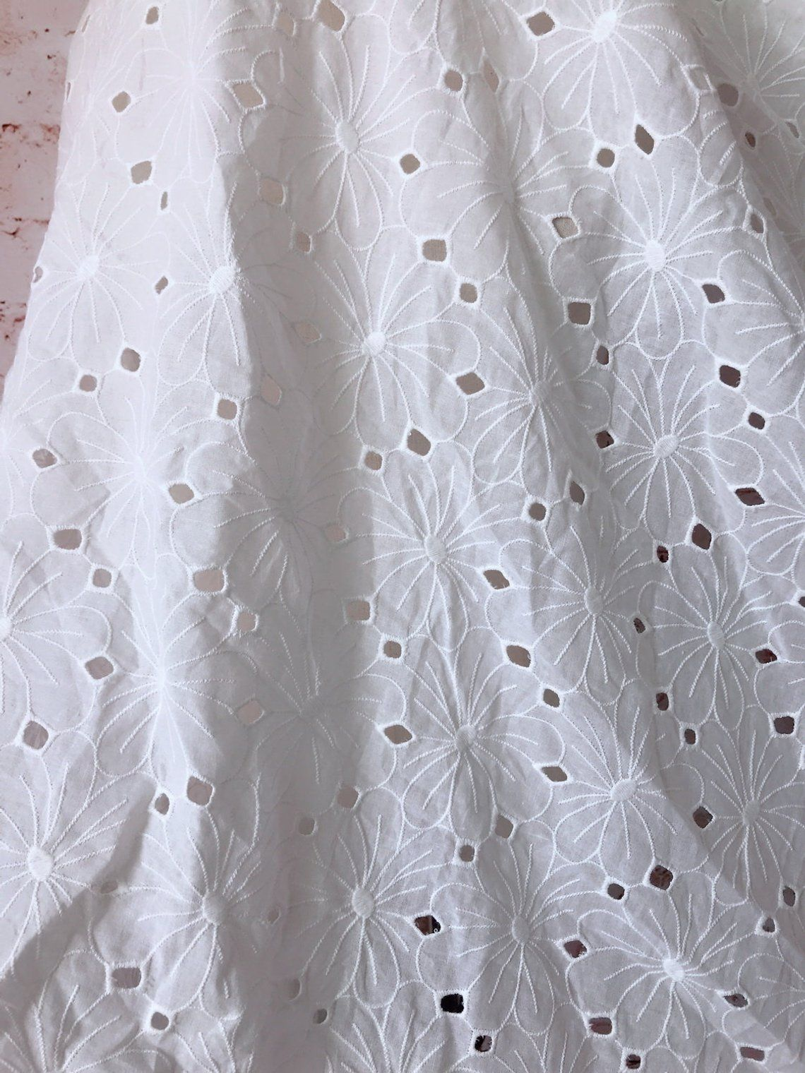 Cotton Fabric Off White Flower Lace Fabric Cotton Eyelet Etsy