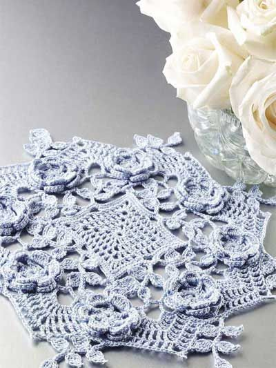 Blue Rose Doily I Have Made This Doily In All White Its Pretty Then