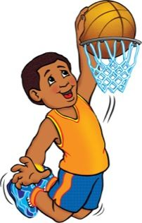 Boy Slam Dunking A Basketball Caricature Kids Clipart Sports Clips