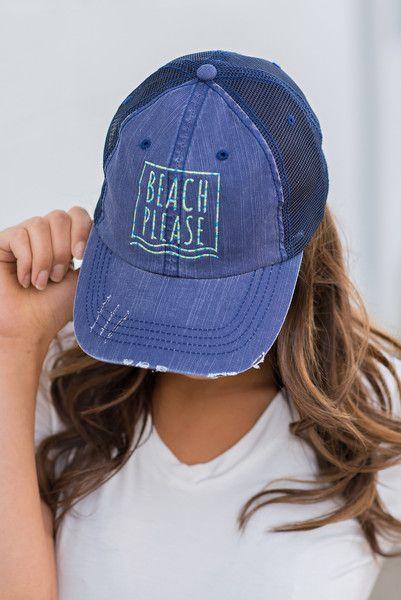 Beach Please Distressed Navy Trucker Hat - NanaMacs.com - 6