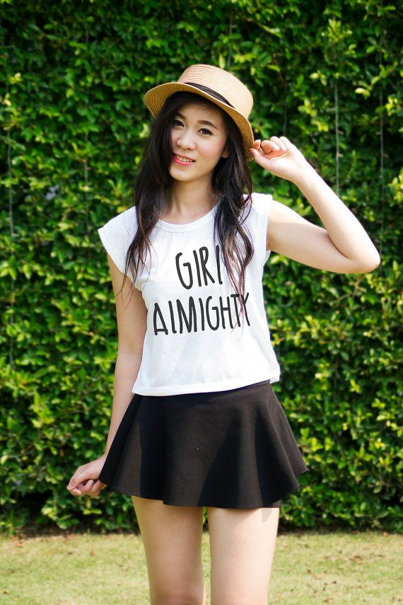 cc8a83f98f1f8 Girl Almighty Crop Top Outfit Teen Tumblr Quotes Teenager Fashion Trending  Now
