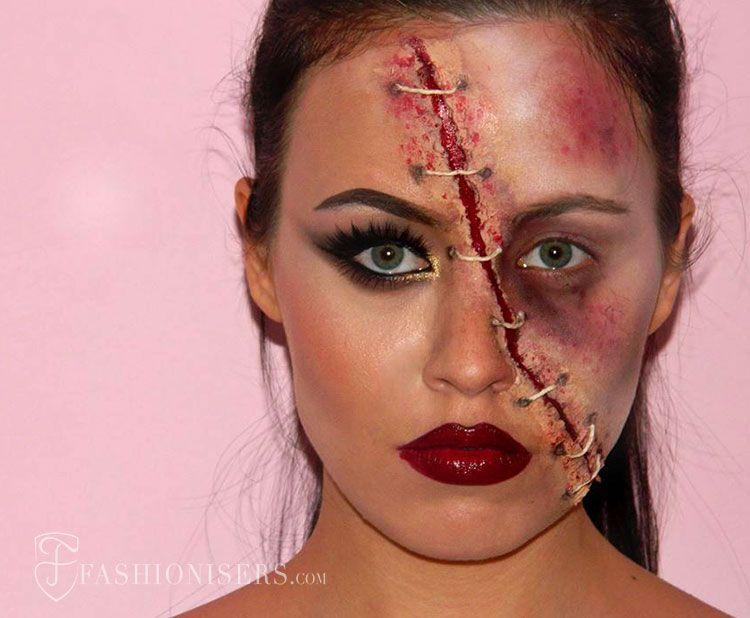Half Glam/ Half Zombie Halloween Makeup Tutorial | Zombie Halloween Makeup Halloween Makeup And ...