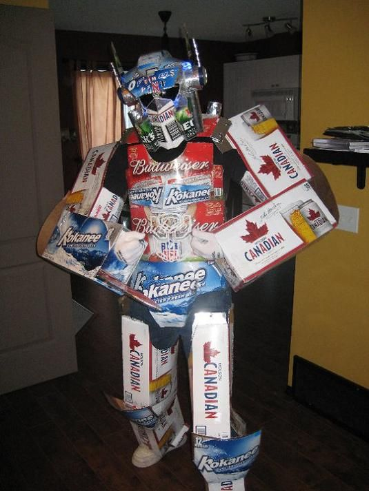awesome optimus prime costume made out of beer boxes via geeks are sexy - Funny Home Made Halloween Costumes
