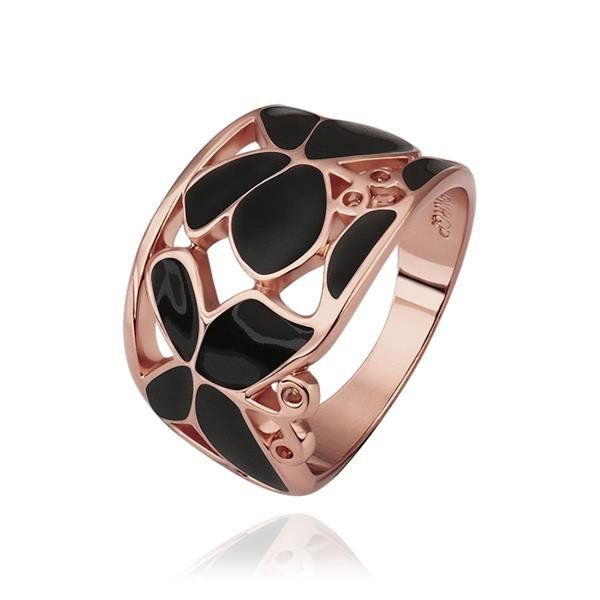Rose Gold Plated Onyx Layering Laser Cut Ring Laser cutting Rose