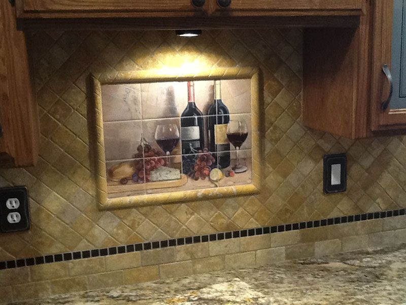 Bread And Wine Tile Mural Tile Murals Tiles Kitchen Tiles