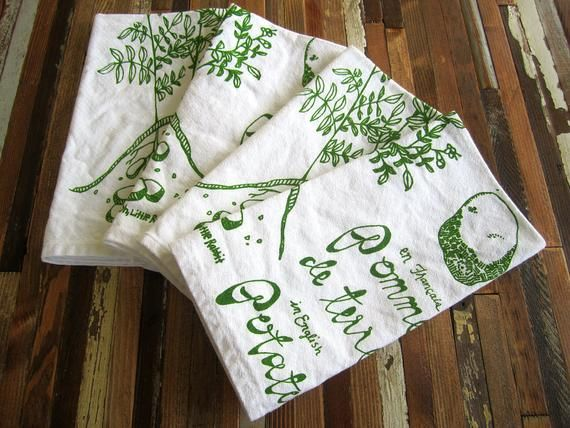 Cloth Napkins - Eco Friendly Dinner Napkins - Screen Printed Cloth Napkins - Reusable - Botanical - #clothnapkins