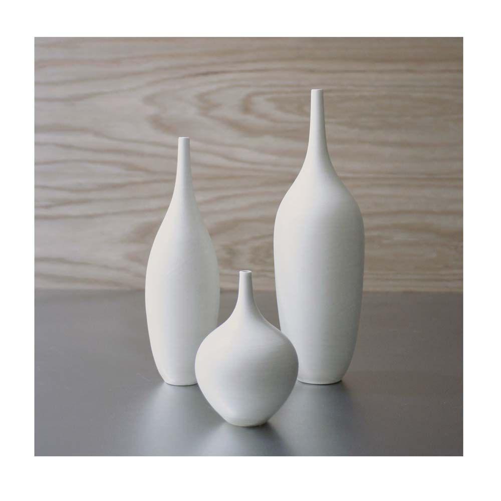 white modern vase - trio of pure white ceramic bottle vases in modern matte white