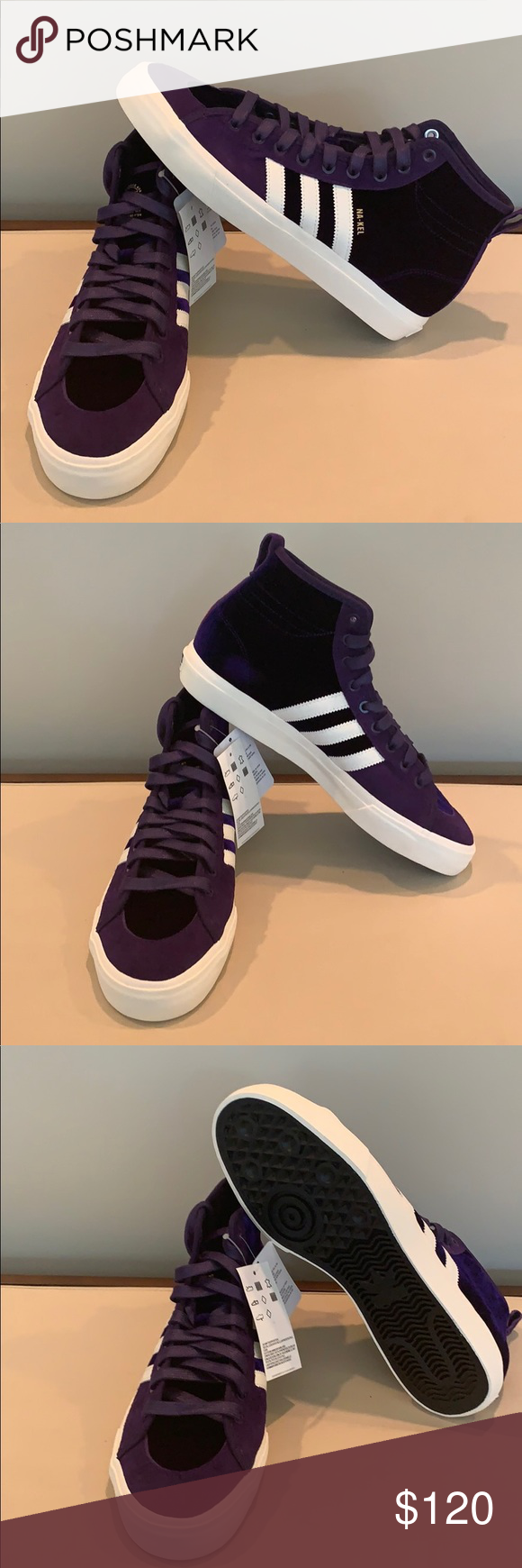Mens Purple Skate Shoes Adidas Matchcourt Hi RX Na Kel Purple Shoes Purple D Treads