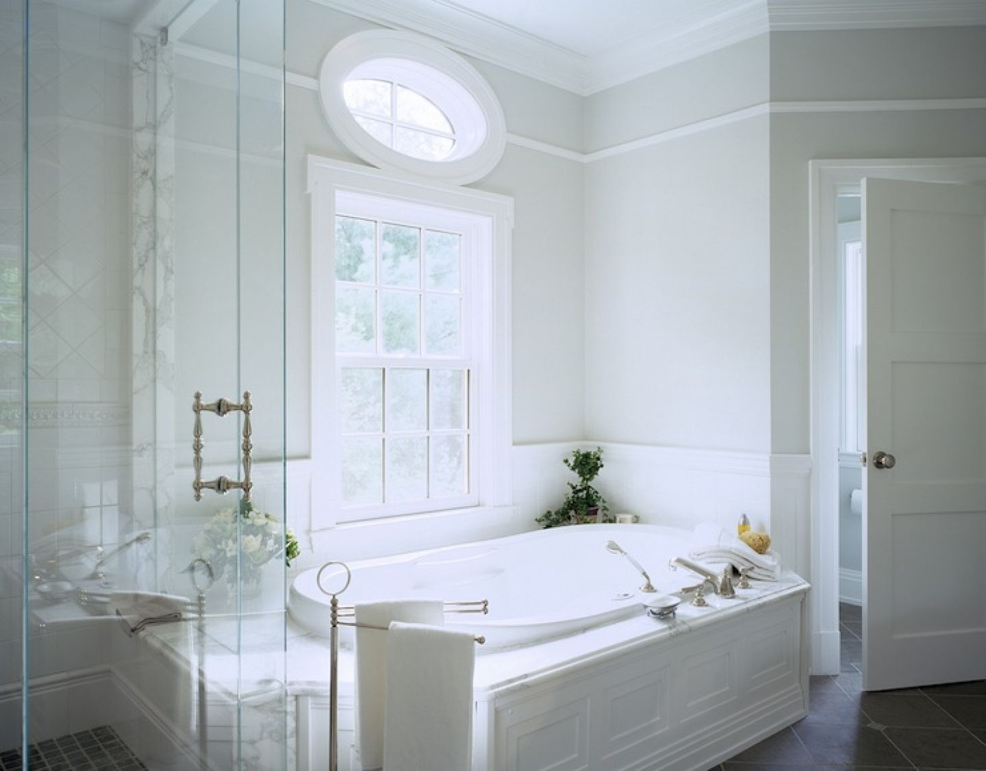 Gray walls spa tub seamless glass shower stunning master bathroom ...